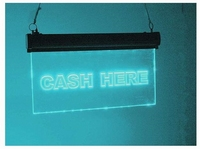 Cash-Here led bord blauw